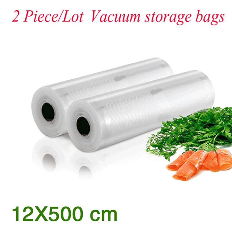 (2 Pieces/Lot ) PA+PE Portable Handy Rolls Vacuum Food Saving Storage Bags Sealing Sealer Keep Food Fresh 36#_12*500 cm(China (Mainland))