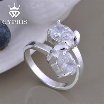 Hot Promotion silver ring Fashion Flower Ring Ruby Amethyst Crystal Star Women Men Engagement CYPRIS