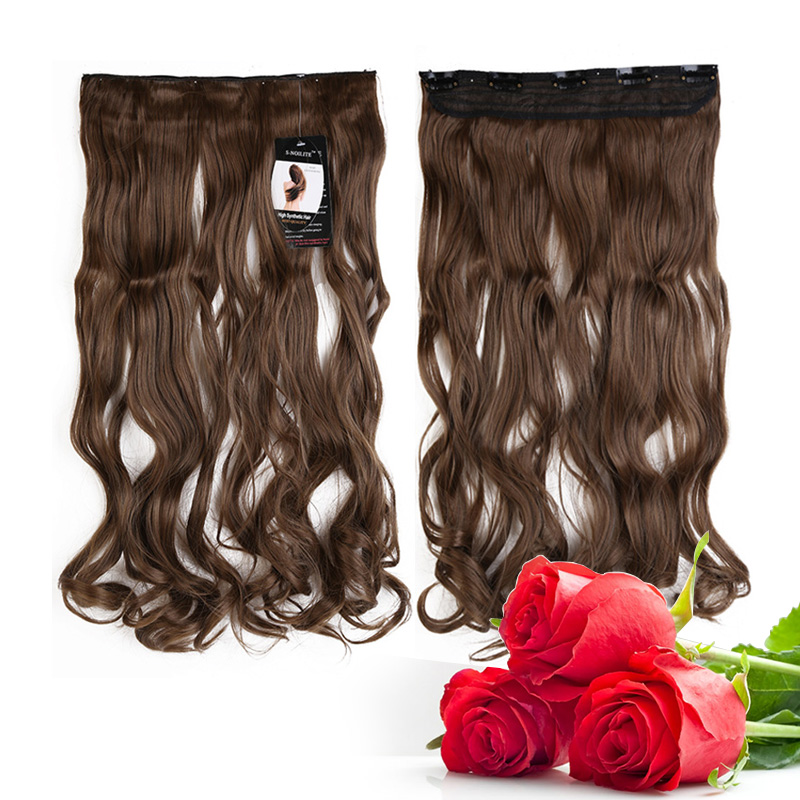 """Mother's Day Gift!!! 26inches Long 12"""" Width Straight 3/4 Full Head Clip in Hair Extensions Real Synthetic Fiber Clearance Price(China (Mainland))"""