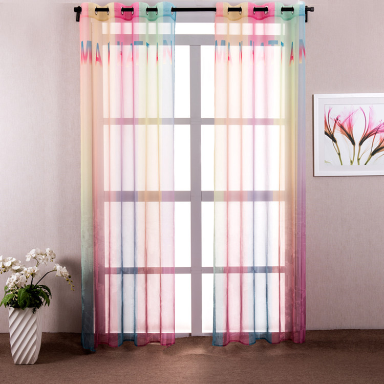 1 piece colorful rainbow sheer curtains for living room