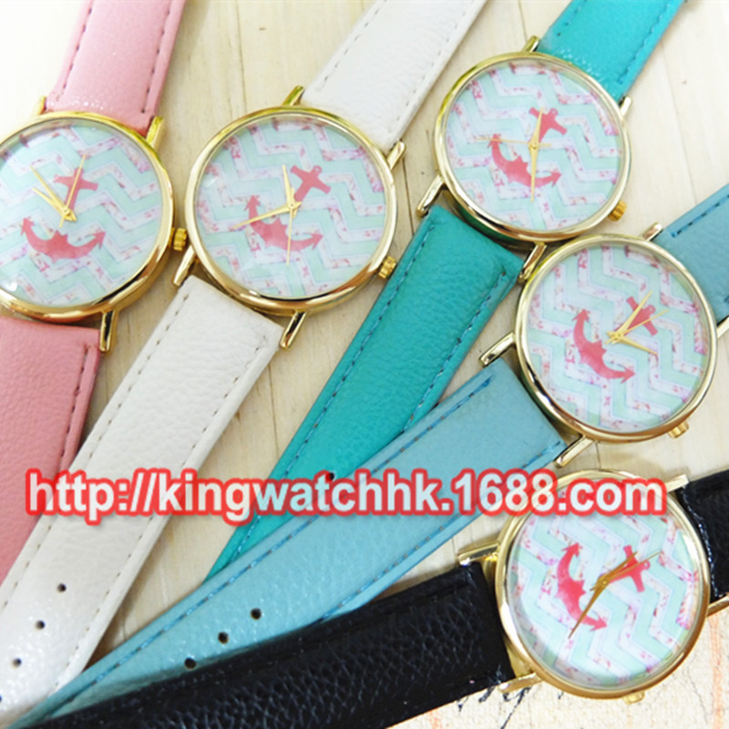 2015 New Fashion Geneva Watches Women Casual Dress Watch Female Floral Printed Anchor Quartz Dress Wrist Watch Free Shipping<br><br>Aliexpress
