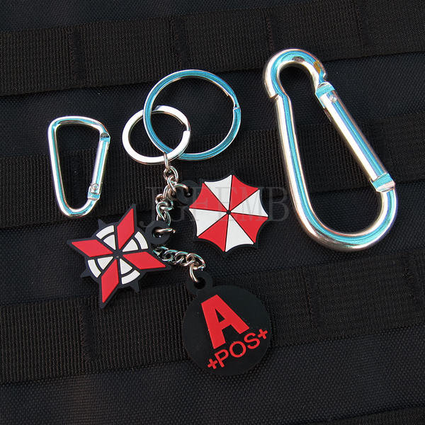 black background color design Resident Evil Umbrella Corporation Blood Type A POS Keychain ring 3D PVC Patch Badges PB362(China (Mainland))