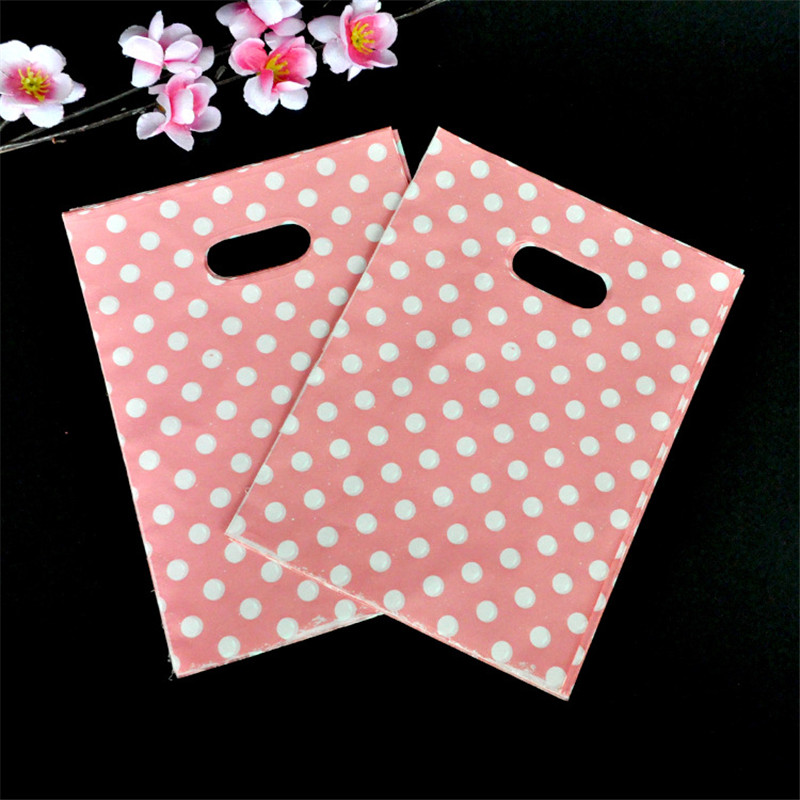 15x20cm Wedding Jewelry Packaging Gift Bag 100pcs/lot Round Dots Pink Plastic Bag Plastic Shopping Bags With Handles(China (Mainland))