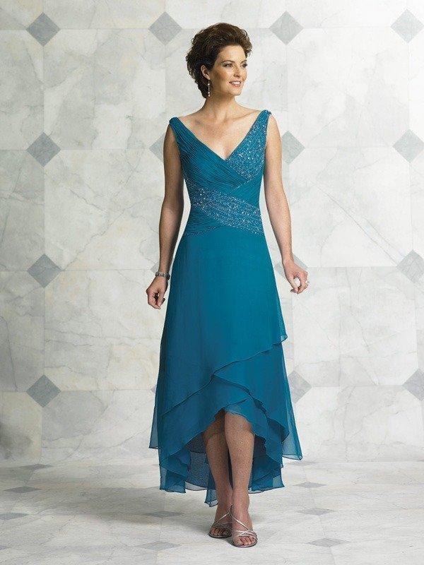 Elegant blue beige chiffon jeweled sleeveless v neck short for Beige dress for wedding guest