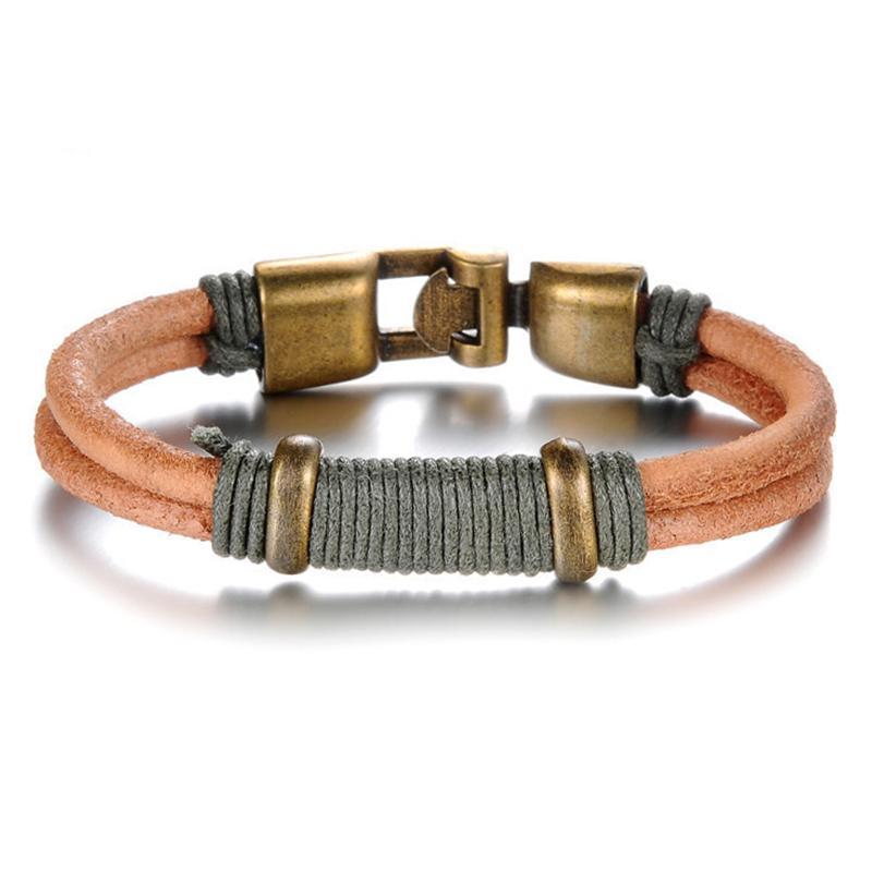Handmade Braided Rope Retro Alloy Anchor Buckle Bracelet Double Layer Genuine Leather Men Bracelets Bangles Jewelry PH890(China (Mainland))