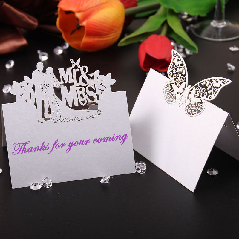 Wedding Card 20 Pcs Heart Butterfly Glass White Place Cards Birthday Party Table Centerpieces Decora