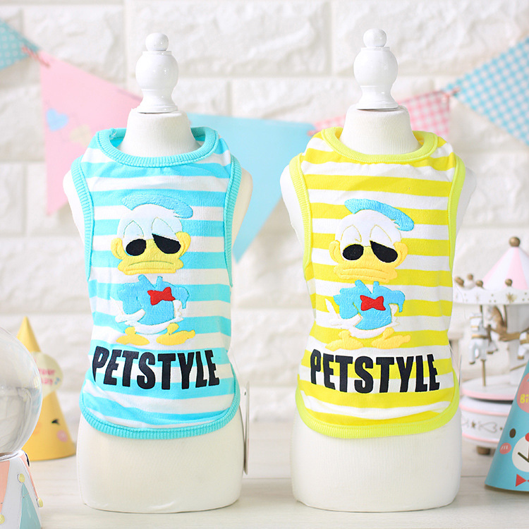 Summer Cute Duck Striped Dog Vest Teddy Pet Dog Vest Cotton Puppy Clothes Pet Shirt Roupa Para Garment Summer Pet Vest PY830(China (Mainland))