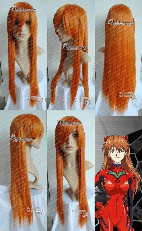 HOT sell Free Shipping >> Neon Genesis Evangelion Asuka Long Orange Blonde Cosplay Wig(China (Mainland))