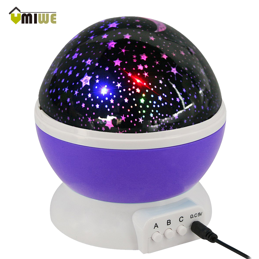 Umiwe Fantasy Moon Star Rotating Projection Night Light