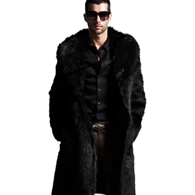 2015 winter men faux fur coat Black long section fashion warm coats Rabbit Turn-down Collar trends jacket