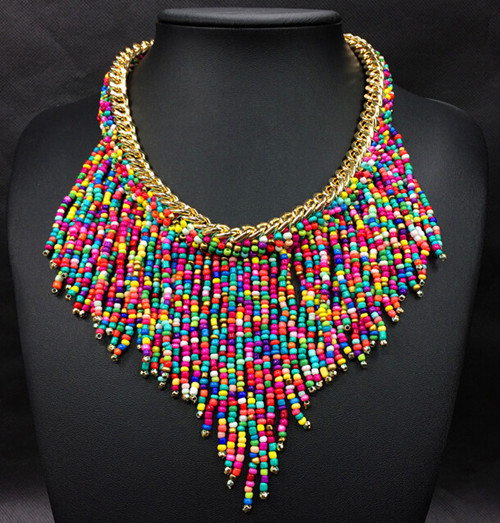 New Bohemian Collier Femme Hand Woven Beaded Tassel statement Necklace 2015 Fashion Women Jewelry Accesorios Mujer