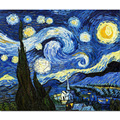 Starry night oil painting printed on canvas Vincent Willem Van Gogh free shipping home decor painting