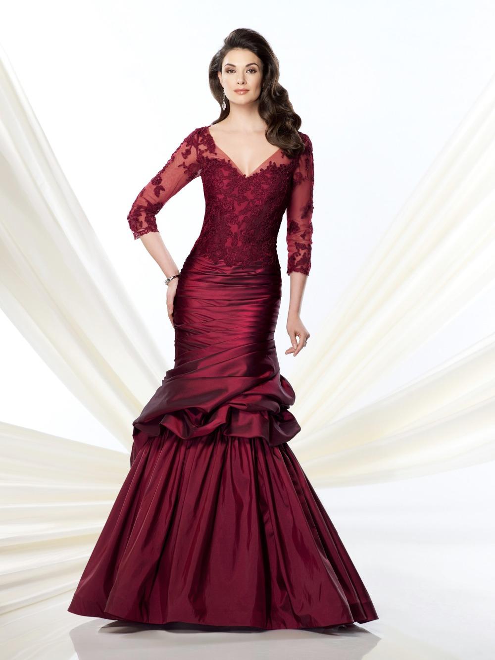 Zz372 2016 сексуальный v-образным вырезом русалка половина рукава мать невесты платья длиной до пола , мать невесты платья