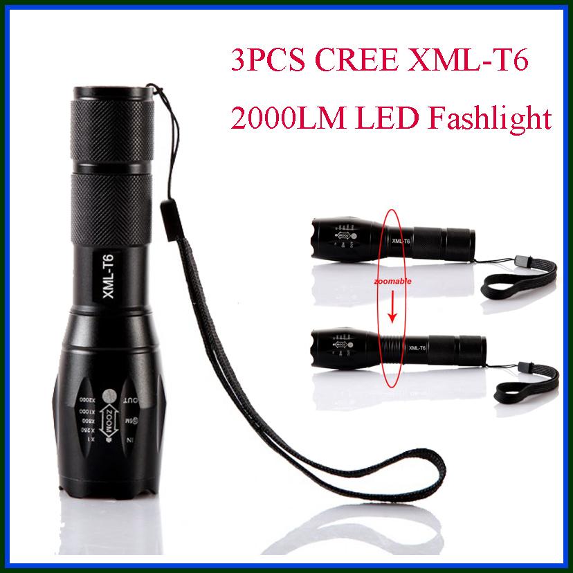3PCS/lot CREE XML T6 5 Modes 2000 Lumens Led Tactical Flashlight Camping Lantern Hunting Spotlight For AAA 18650<br><br>Aliexpress
