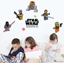 2016 Lego Star Wars Classic Peel And Stick Wall Decals Decorative Wallpaper Cartoon 30X48cm Wall Art Stickers Kids Party Gift(China (Mainland))