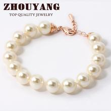Top Quality ZYH208 ZYH209 White Imitation Pearl 18K Gold Plated Bracelet Jewelry   Austrian Crystals Wholesale(China (Mainland))