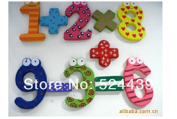 Fridge magnets New Wooden 10 Figure Numbers Baby / Children Educational Tool Colorful Fridge Stick Magnet.Arithmetic toys