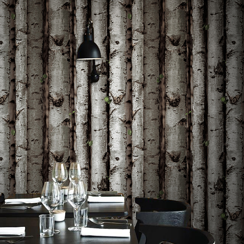 Modern brief birch tree wallpaper forest gray brown wall for Birch tree wallpaper mural