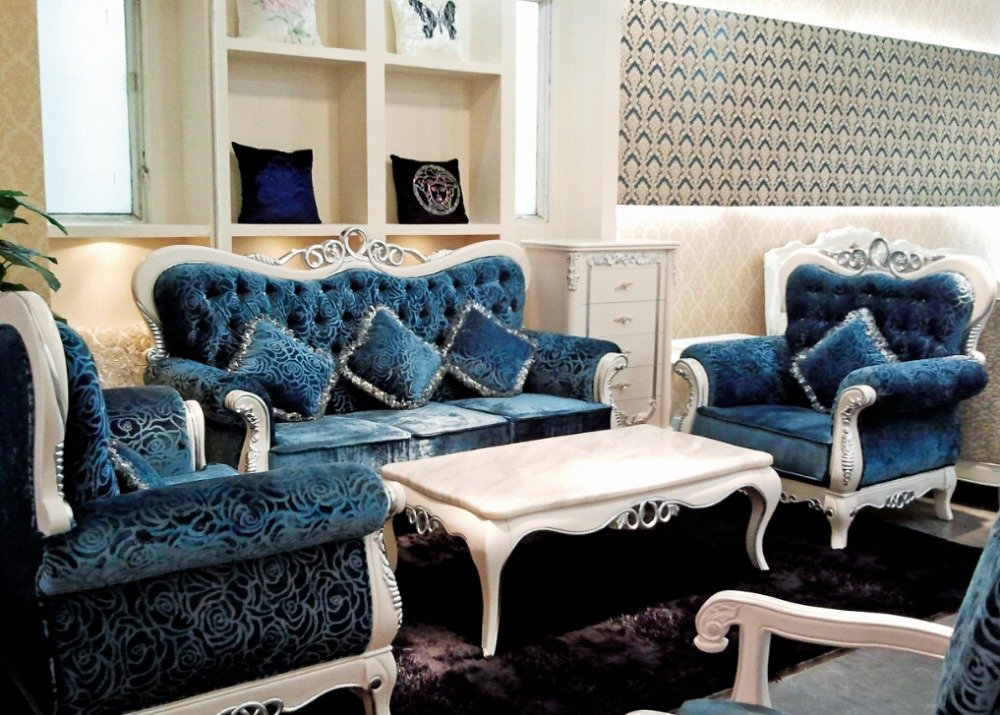 Italian blue fabric sofa sets living room furnitureantique style