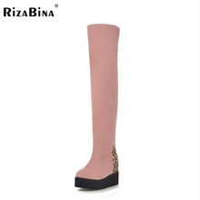 ladies wedges over knee boots women snow boot warm winter botas vintage fashion platform footwear heels shoes P19916 size 32-43(China (Mainland))