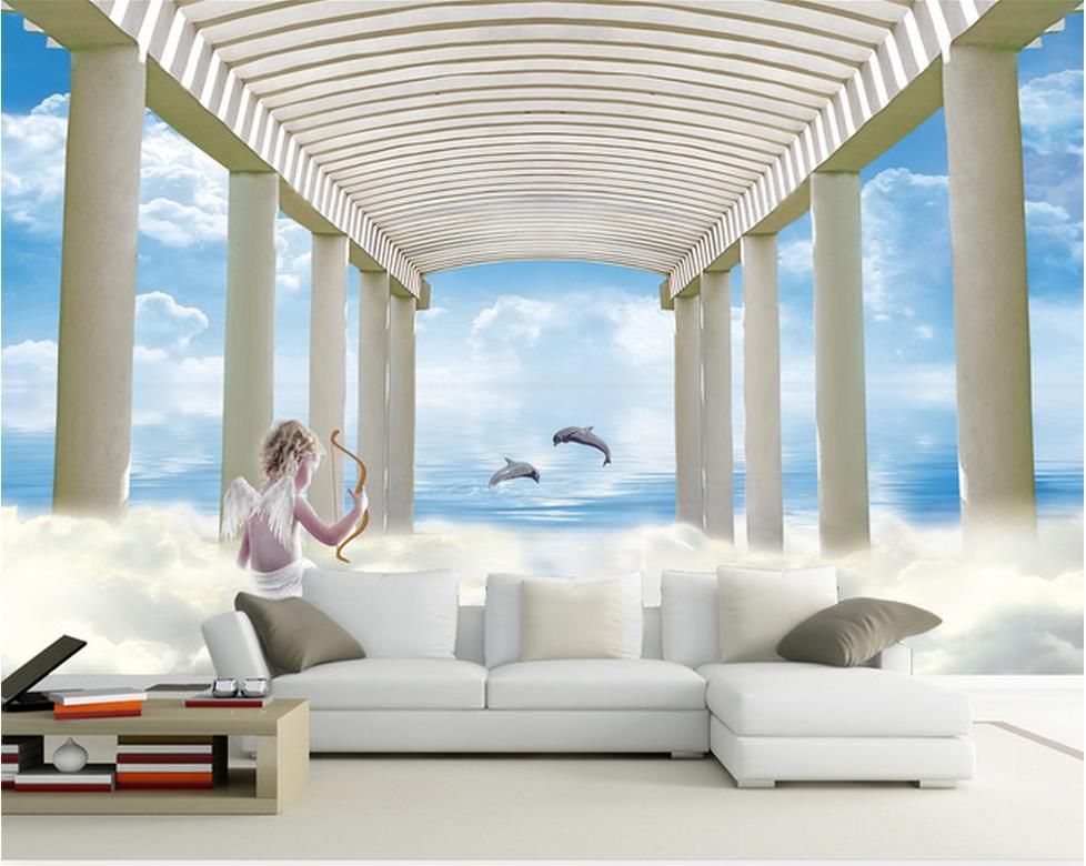 Free shipping modern wall 3d murals wallpaper angel for Angel wall mural