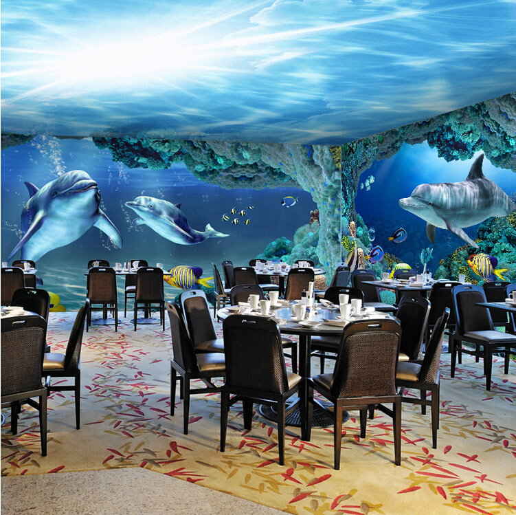 Mural marine 3d dolphin fish wall paper cartoon bathroom for Dolphin wall mural