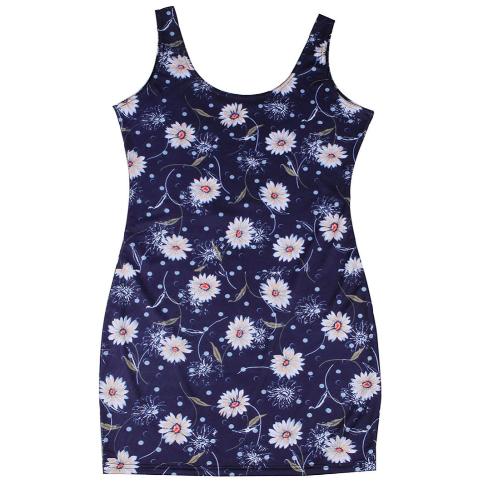 Hot Sale Clothes Womens Sleeveless Summer Women's Wear Latest Clothing Round Neck Floral Pencil Dress Vests Fashion Ladies Top(China (Mainland))