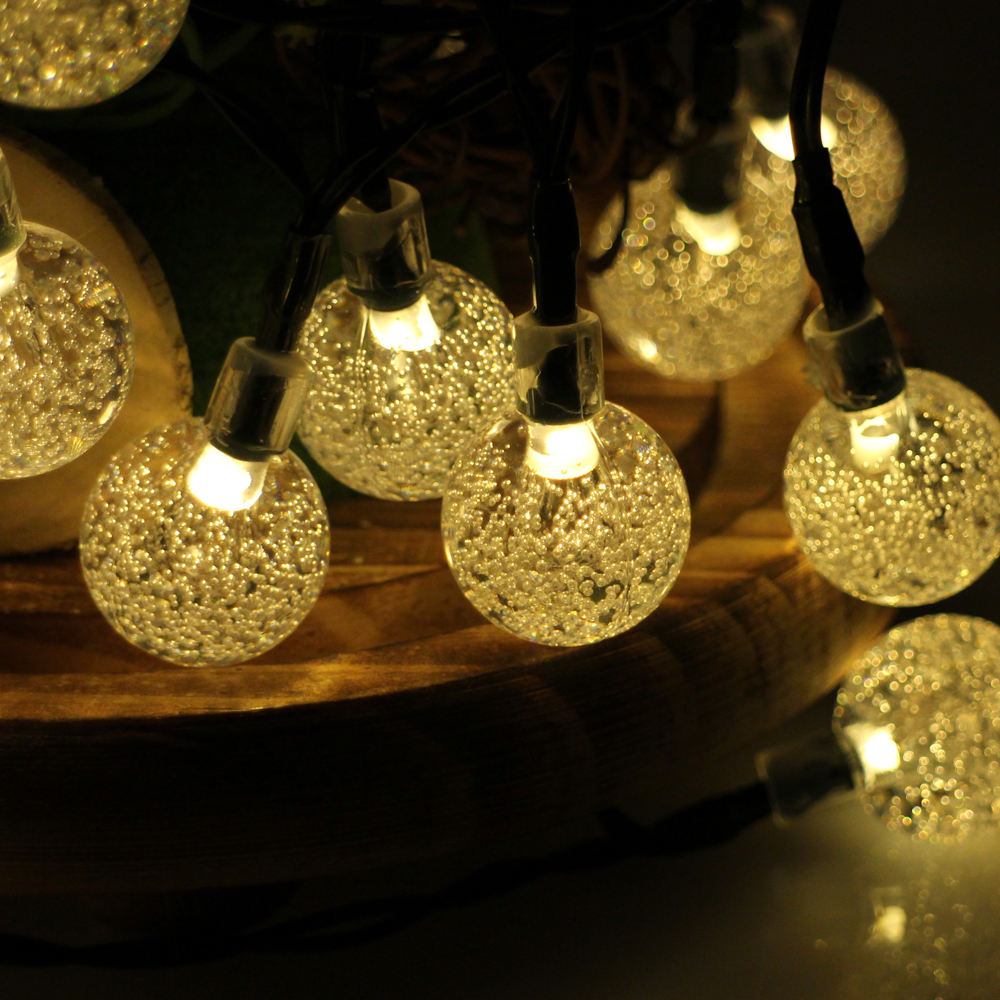 30led 6m waterproof decorative crystal ball led string for Outdoor decorative lights