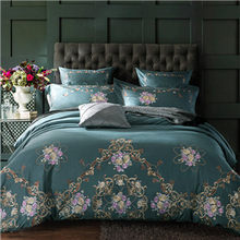 Luxury Deep Blue European Bedding Sets Queen King Size Embroidery Egyptian Cotton Bedlinens Duvet Cover Bedsheet Pillow Cases(China)