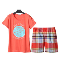 Song Riel casual summer short sleeved cotton pajamas cute shorts and comfortable outer wear tracksuit Set