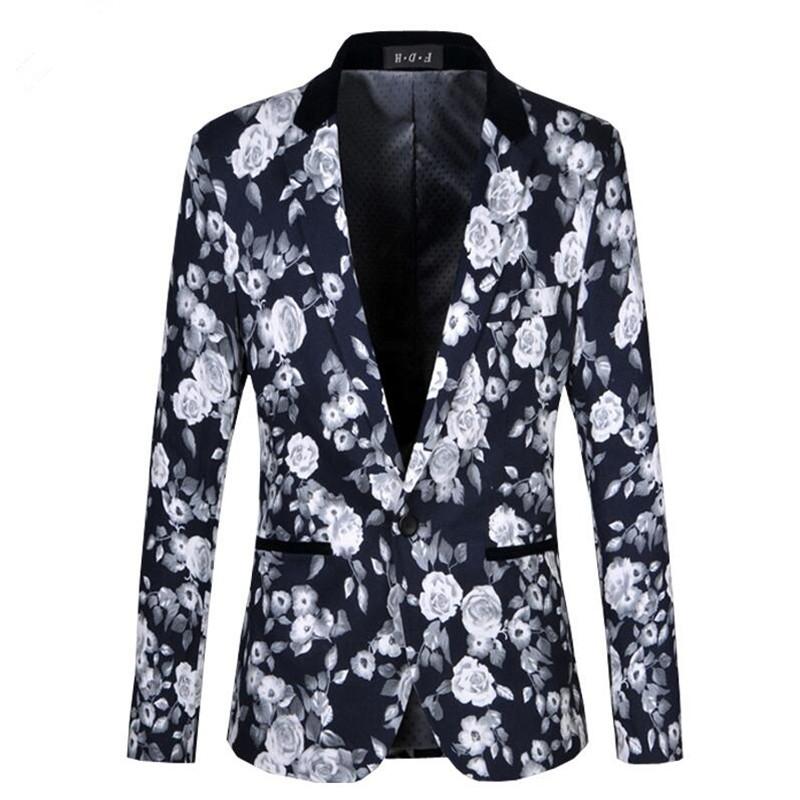 Men Floral Blazers 2016 New Autumn Fashion High Quality Flower Business Dress Plus Size M~6XL Slim Fit Casual Suit Jacket(China (Mainland))
