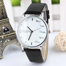 2015 moda mujeres lindas de letras inglesas Dial redondo PU banda de cuero relojes de cuarzo analógico reloj Hot Sales relojes de pulsera