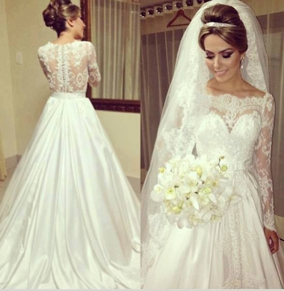 Vintage Scoop Neckline Princess See Through Lace Wedding Dresses Long Sleeve Bridal Gowns Covered Back 2014(China (Mainland))