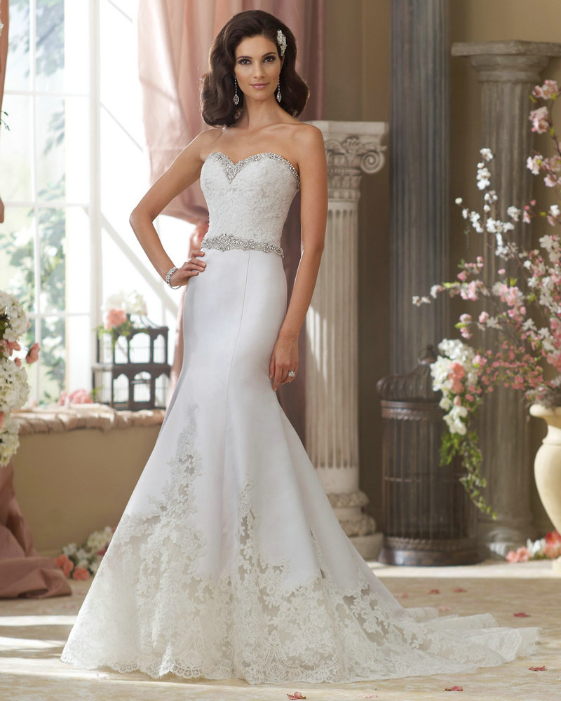 Style micki 214208 mermaid wedding dress with stones court for Silver satin wedding dress