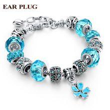 Blue Crystal Murano Beads Bracelets & Bangles Vintage Link Charm Bracelets For Women DIY Love Sapphire-Jewelry 2016 SBR160037(China (Mainland))
