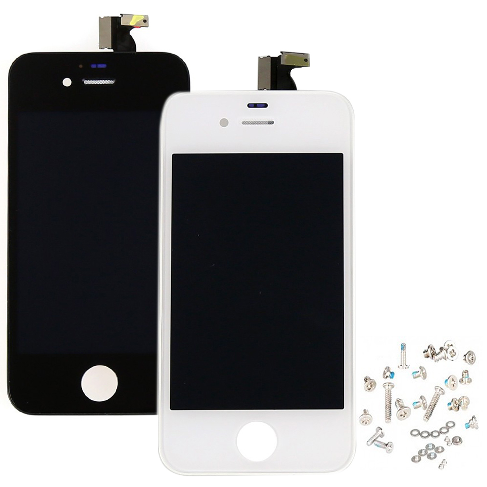 White Black Brand New LCD Display Touch Screen Digitizer Assembly+Bezel Frame+Screws Replacements For iPhone 4 4G Free Shipping(China (Mainland))