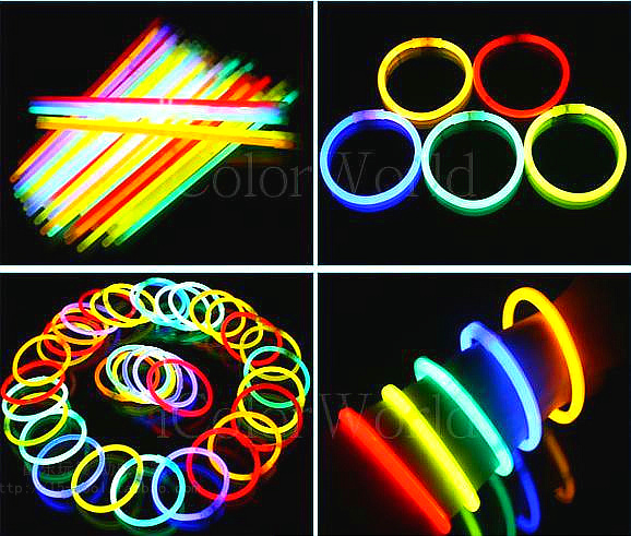 100 mixed color silver stick luminous Flash glow bracelet special holiday party - Warm Island store