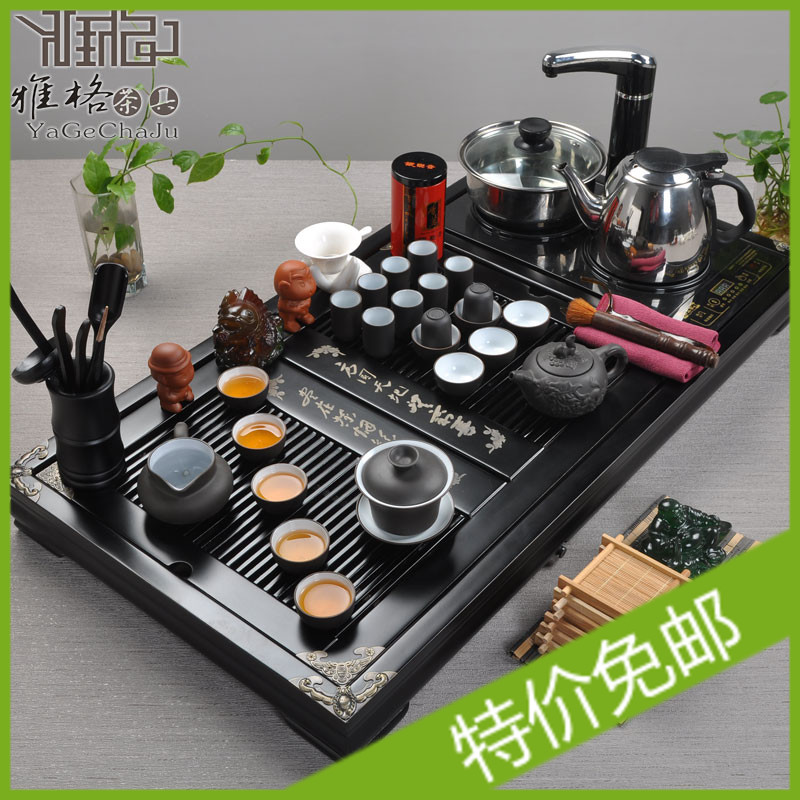 Free shipping New 2013 Kung fu tea set four in one induction cooker solid wood tea