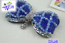 1 pair handmade glass beads bow shoe clip decoration with crystal and metal N676(China (Mainland))
