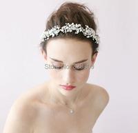 100% handmade pearl  Wedding Silver bride headdress fashion crystal bridal head band wedding hair jewelry accessory