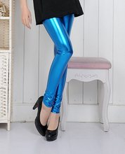 Capris for Women Ladies High Waist Stretch Skinny Shiny Spandex Footless Disco Dance Pants Female Sport Pants(China (Mainland))