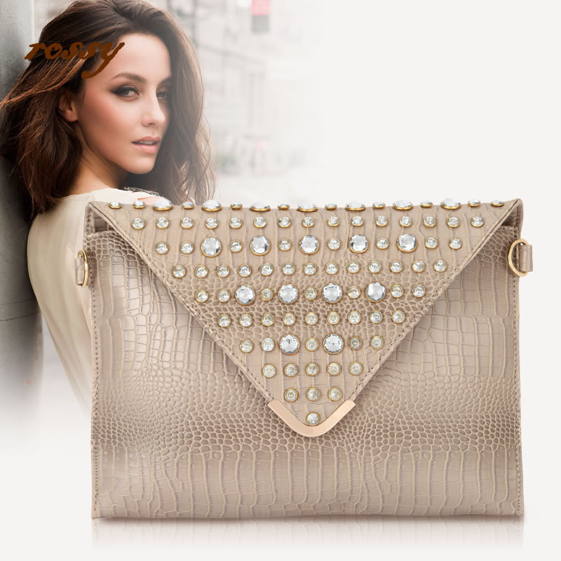 2015 new fashion Alligator day clutches shoulder diagonal with diamonds cover handbag European and American style high quality(China (Mainland))