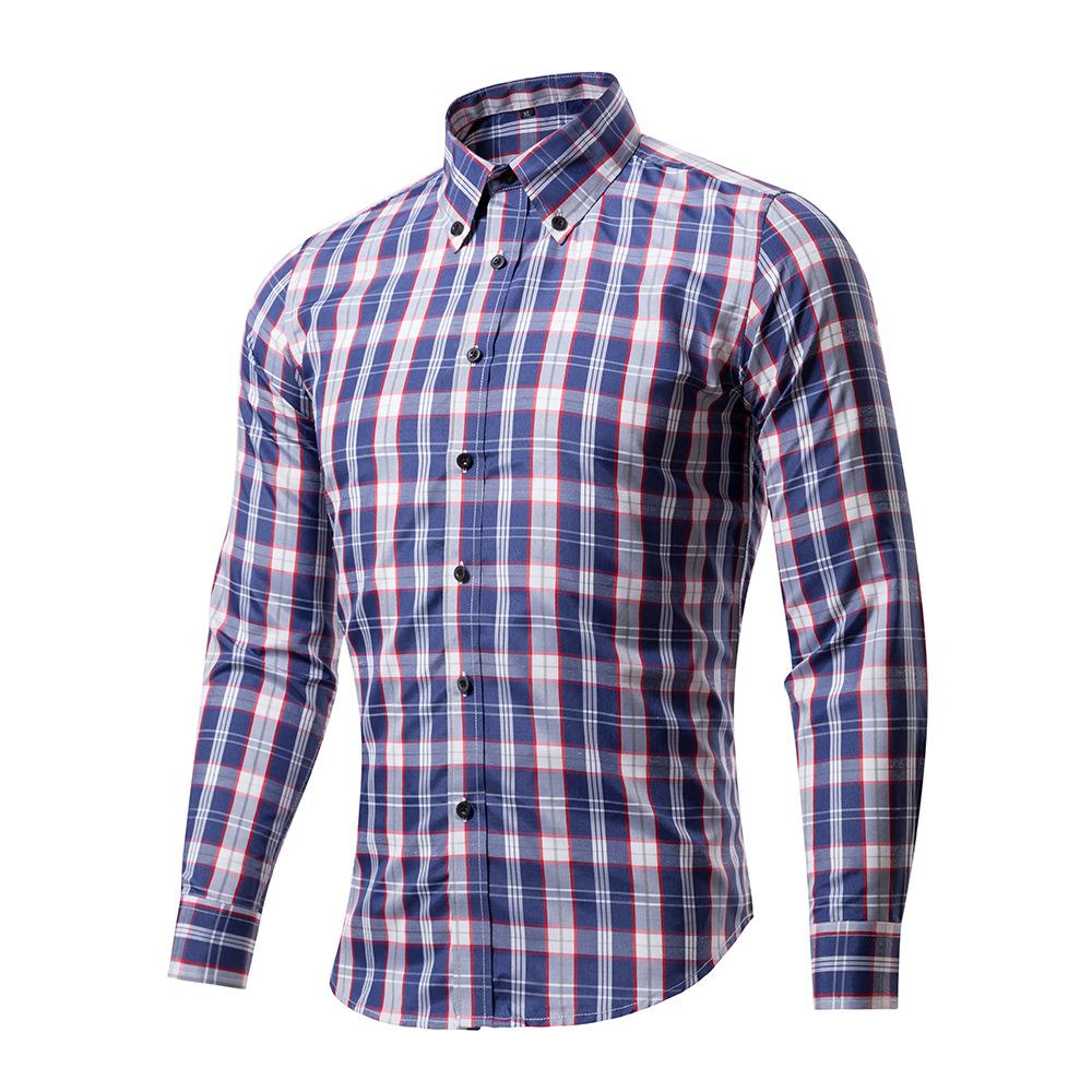 Brand long sleeve men shirts 2017 new arrival plaid slim for Long dress shirts mens