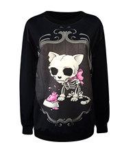 Sweatshirt Gothic rock style fashion tie-dye hedging Sweatshirt  Kito pink skull skeleton dog(China (Mainland))