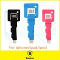 Original Baseus Mini Key Cable Keychain 8 pin Micro USB Cable Phone Charging For iphone 5s