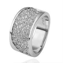 New Arrival Crystals wide Rings For women Anel Aneis Platinum Plated Made with Genuine Austrian Crystals Fashion Jewelry Bague(China (Mainland))