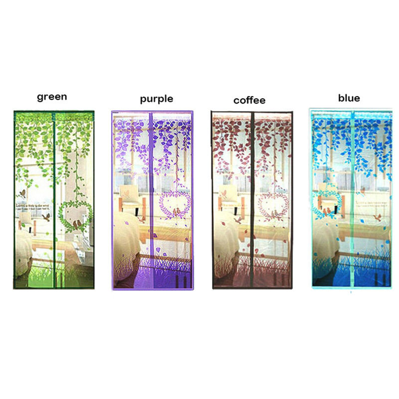 Summer Lovely 4 Colors Curtains Anti Mosquito Magnetic Tulle Curtain Door Screen Summer Style Mesh Net 90/100 x 210 cm