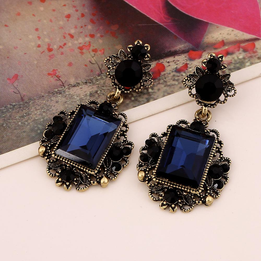 Fashion Luxury Geometric Deep blue Big Crystal Drop Earrings Retro Hollow Carved Rhinestone Dangling Brincos Earrings For Women