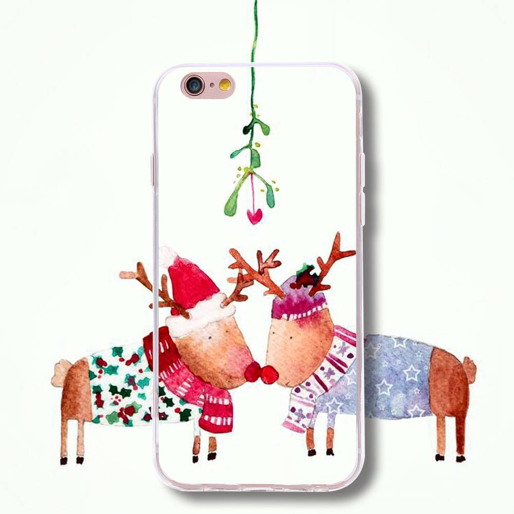 TPU Silicone Cases For Samsung S5 S6 S7 Edge Plus Note7 5 Christmas Deer Phone Case For iPhone 6 6S Plus 5s Pattern Print Shell(China (Mainland))