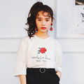 Korean Harajuku Women T shirt 2017 New Style Chicing Rose Printed Half Sleeve Casual T Shirt